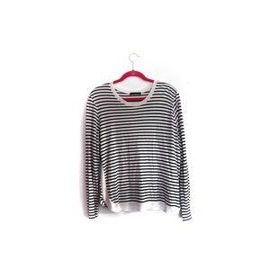 Zara Navy White Stripe Boatneck Top XL